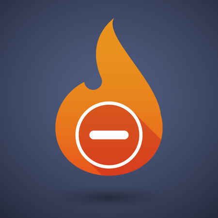 subtraction: Illustration of a flame icon with a subtraction sign