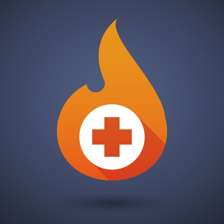 Illustration of a flame icon with a pharmacy sign Vector
