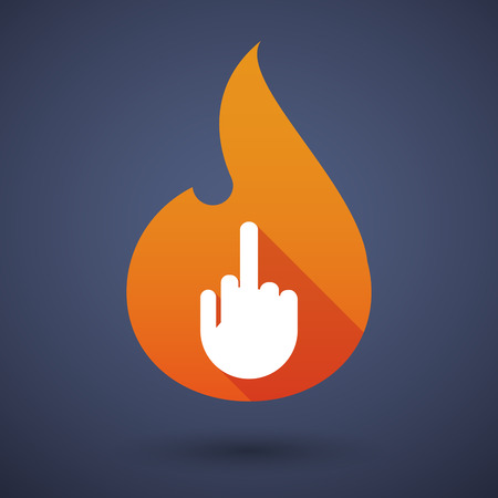 Illustration of a flame icon with a hand