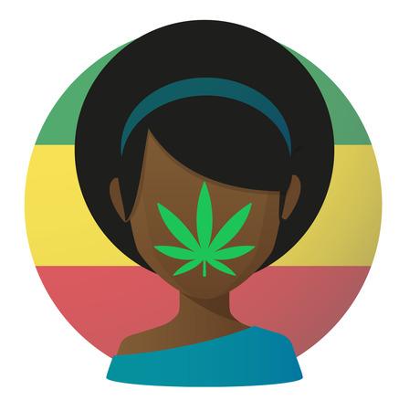 Illustration of an isolated avatar with a marijuana leaf Vector