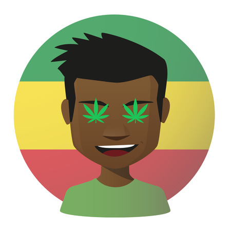 reggae: Illustration d'un avatar isol�e avec des feuilles de marijuana