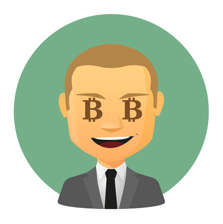 p2p: Illustration of an isolated avatar with a bitcoin sign Illustration