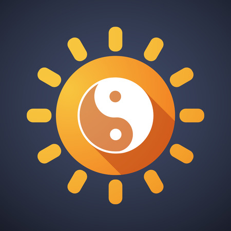 karma design: Illustration of a sun icon with a ying yang Illustration