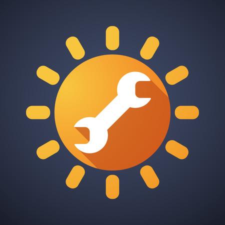 llave de sol: Ilustración de un icono del sol con una llave inglesa