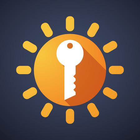 clave sol: Ilustración de un icono del sol con una llave