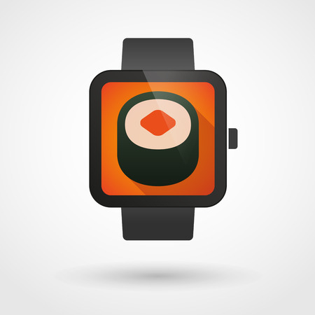 Illustration of an isolated smart watch icon with a sushi Vector