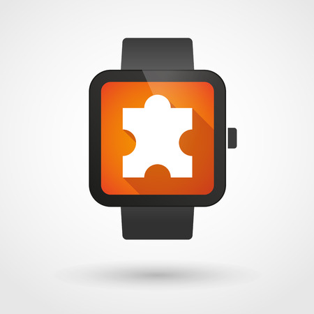Illustration of an isolated smart watch icon with a puzzle piece Vector