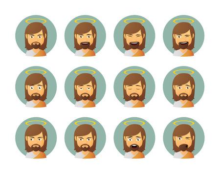 Illustration of an isolated Jesus avatar expression set