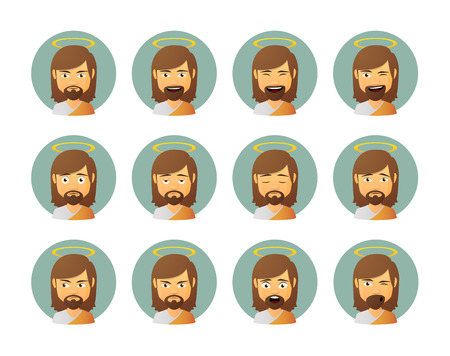 Illustration of an isolated Jesus avatar expression set