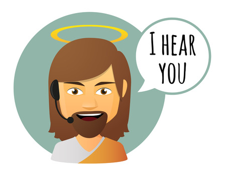 Illustration of an isolated Jesus avatar with a comic balloon Illustration