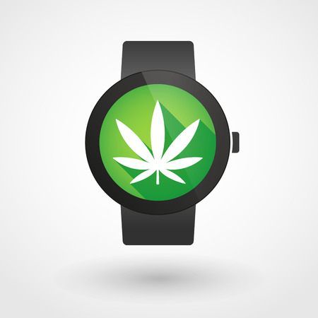 marihuana: Illustration of an isolated smart watch icon with a marijuana leaf Illustration