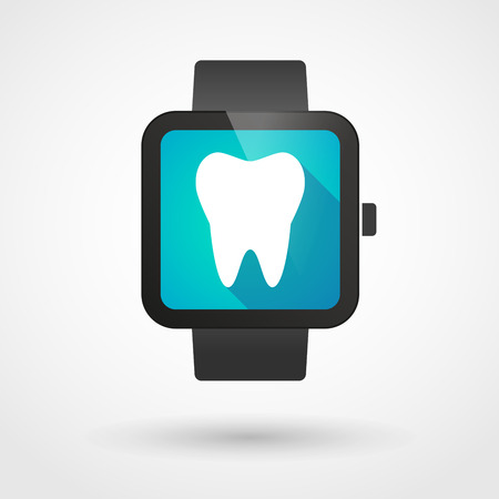 mouth screen: Illustration of an isolated smart watch icon with a tooth Illustration