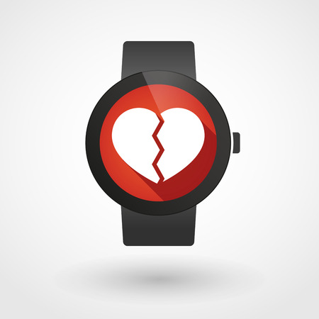Illustration of an isolated smart watch icon with a heart
