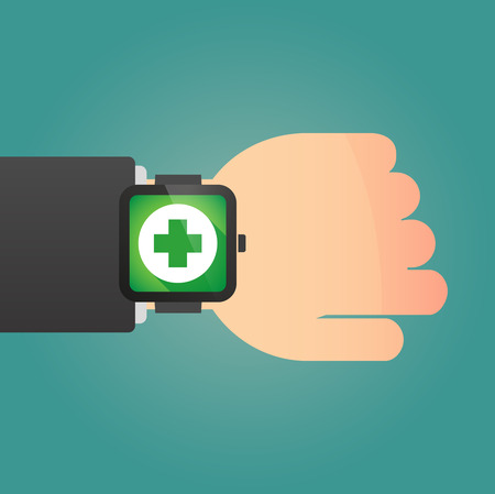Illustration of an isolated hand with a smart watch displaying a pharmacy sign Vector
