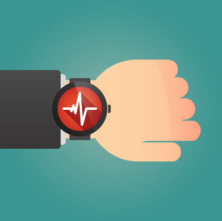 displaying: Illustration of an isolated hand with a smart watch displaying a heart beat sign