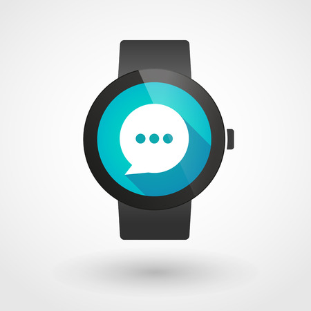 Illustration of an isolated smart watch icon with a comic balloon Vector