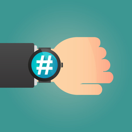 hand tag: Illustration of a  hand with a smart watch displaying a hash tag