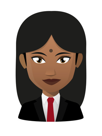 asian and indian ethnicities: Illustration of an isolated female indian avatar wearing suit
