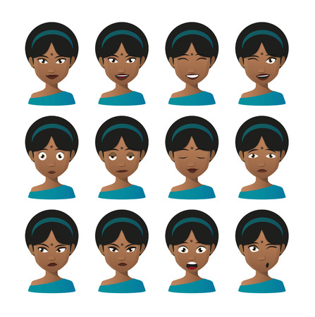 Illustration of an isolated female indian avatar expression set Vector