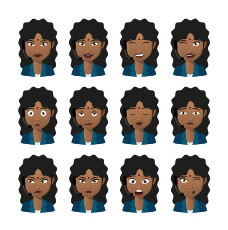 call centre girl: Illustration of an isolated female indian avatar expression set wearing headset