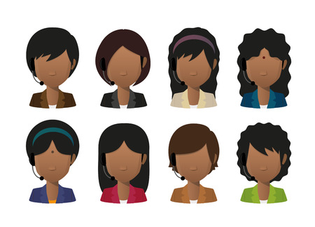 call centre girl: Illustration of an isolated female indian faceless avatar wearing a headset