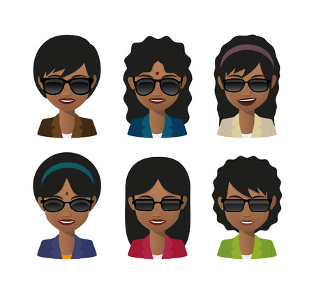 asian and indian ethnicities: Illustration of an isolated female indian avatar wearing sunglasses Illustration