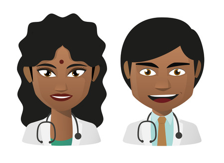 indian professional: Illustration of two cartoon young indian doctors