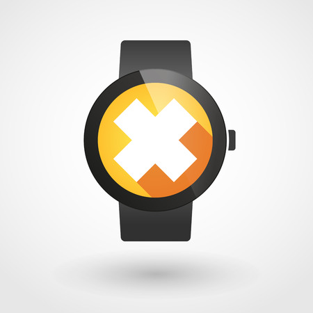 oxidizing: Illustration of a isolated smart watch icon with an irritating substance sign