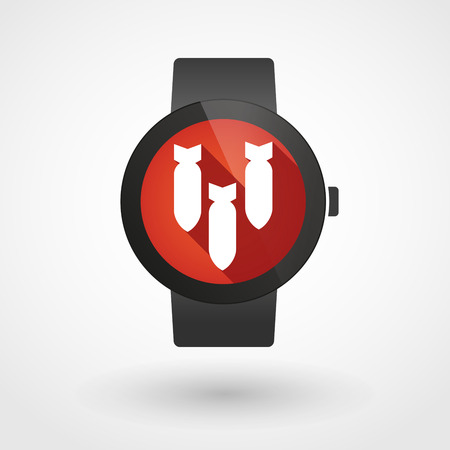 explosive watch: Illustration of a isolated smart watch icon with a bombs
