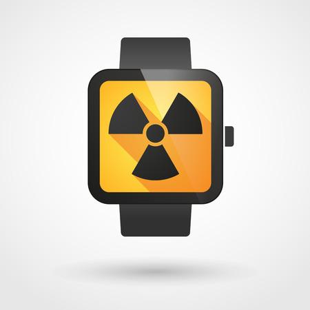radiactividad: Ilustraci�n de un icono de reloj inteligente aislado con un signo de la radiactividad