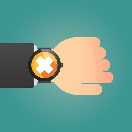 harmful to the environment: Illustration of a isolated smart watch icon with an irritating substance sign