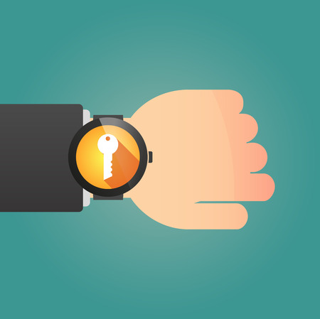 Illustration of a isolated smart watch icon with a key Vector