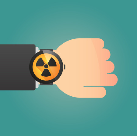 radioactivity: Illustration of a isolated smart watch icon with a radioactivity sign