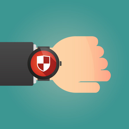 Illustration of a isolated smart watch icon with a shield Vector