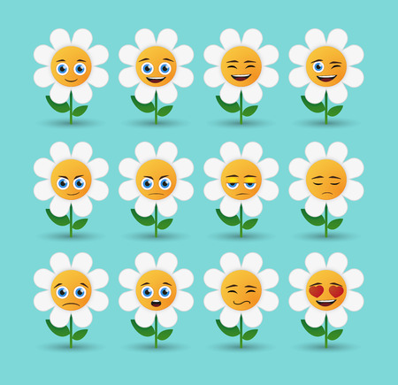 Illustration of a cute flower avatar expression set Vector