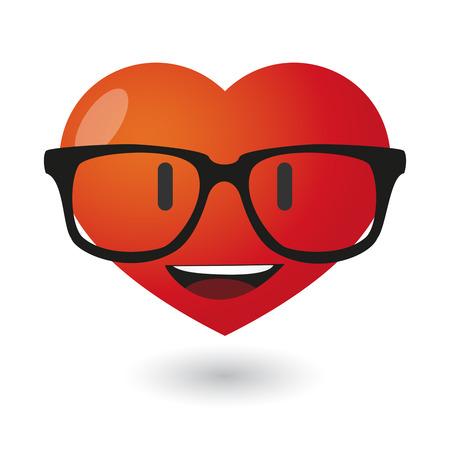 Illustration of a cute heart avatar wearing glasses Vettoriali
