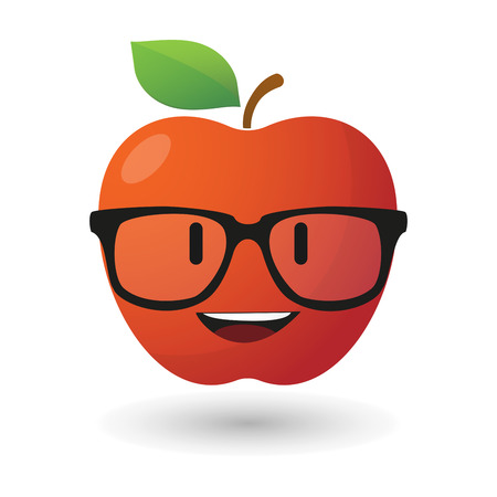 Illustration of an apple avatar wearing glasses Vector