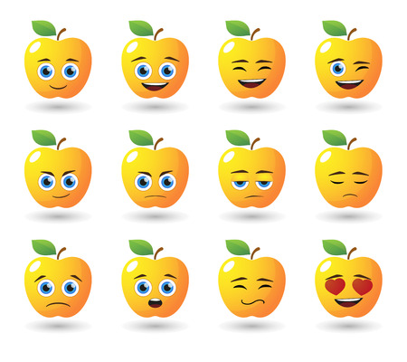 Illustration of an apple  avatar expression set Vector