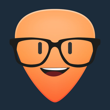 guitar pick: Illustration of a cute guitar pick avatar wearing glasses