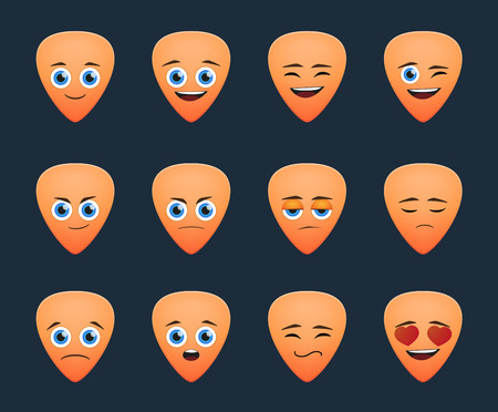 Illustration of a cute guitar pick avatar expression set Vector