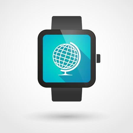 displaying: Illustration of an isolated smart watch displaying a world globe