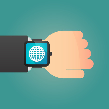 Illustration of a hand wearing a smart watch displaying a world globe