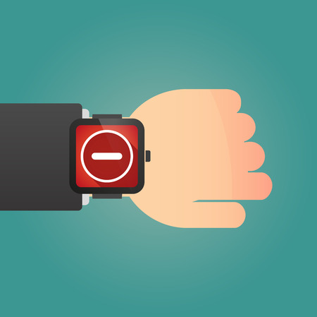 subtraction: Illustration of a hand wearing a smart watch displaying a subtraction sign