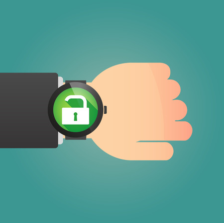 closed fist sign: Illustration of a hand wearing a smart watch displaying a lock pad