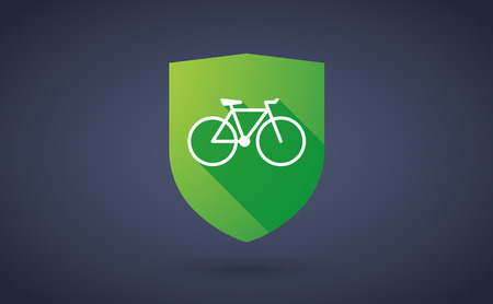 wheel guard: Illustration of a long shadow shield icon with a bicycle