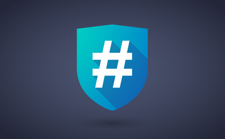 honor guard: Illustration of a long shadow shield icon with a hash tag Illustration