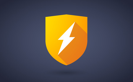bolt: Illustration of a long shadow shield icon with a lightning sign Illustration