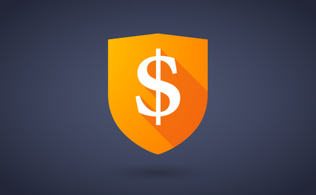 Illustration of a long shadow shield icon with a dollar sign Vector