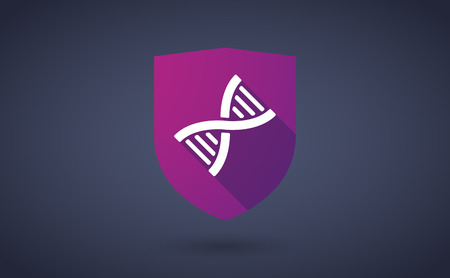 transgenic: Illustration of a long shadow shield icon with a dna sign Illustration
