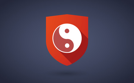 karma design: Illustration of a long shadow shield icon with a ying yang